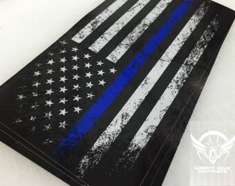 Thin Blue Line Distressed American Flag Decal 4' x 8' by Creepy Goat Graphics