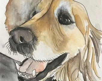 Golden Retriever Print/ Watercolor/ 7x10.4inches/ Dog Print/ Dog Art