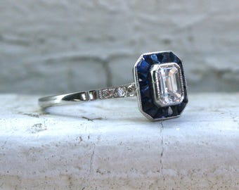 RESERVED - Vintage Art Deco Platinum Emerald Cut Diamond and Sapphire Engagement Ring - 0.93ct.