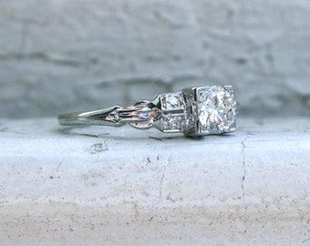 Vintage Diamond 18K White Gold Engagement Ring by Jabel- 0.58ct