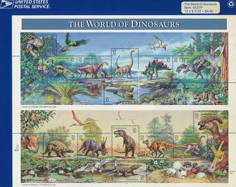 1996 The World of Dinosaurs Sheet of Stamps