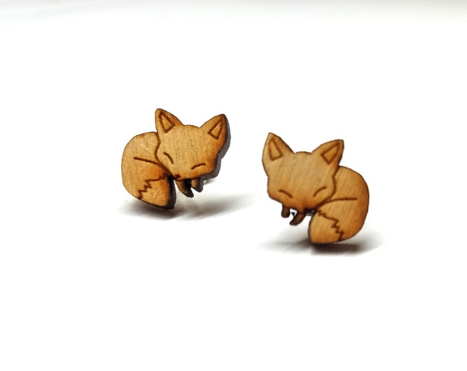 Sleeping Fox Earrings | Laser Cut Jewelry | Hypoallergenic Studs | Wood Earrings