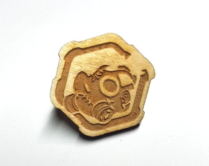 Overwatch Roadhog Pin   Laser Cut Jewelry   Wood Accessories
