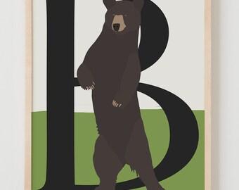 Animal Alphabet, B is for Bear Fine Art Print