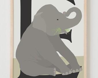 Animal Alphabet, E is for Elephant Fine Art Print