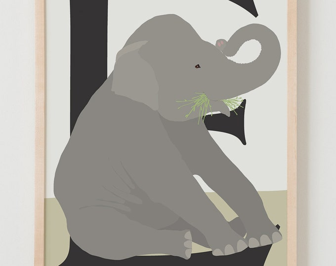 Animal Alphabet, E is for Elephant Fine Art Print