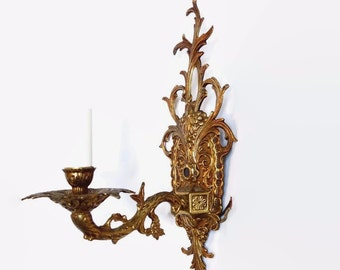Brass Electric Wall Sconce Vintage Spanish Hollywood Regency Ornate French Solid Brass