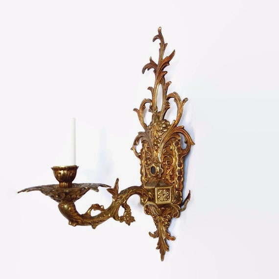 Vintage Wall Sconces Electric: Brass Electric Wall Sconce Vintage Spanish Hollywood Regency