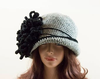 Crochet Cloche Hat with Crochet Flower - Gray and Black, Size L