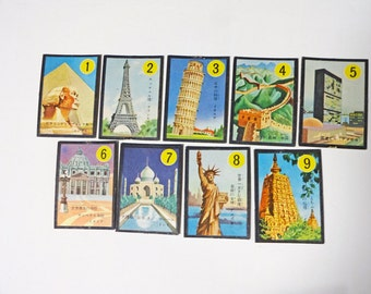 "70s 9pc Japanese vintage playing card ""Sights"""