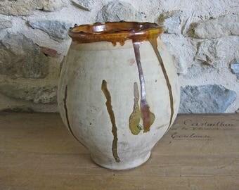 Antique French confit pot - large terracotta pot for confit de canard