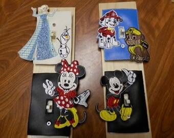 switch plate,minnie,mickey,elas,olaf,paw patrol,disney,charater switch plate,single switch plate