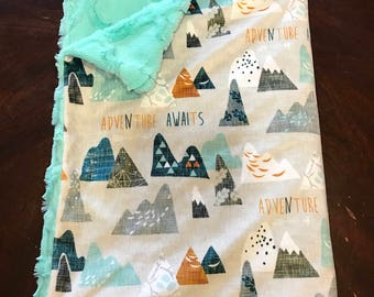 Mountains Baby Boy Blanket - Minky Baby Blanket, Grey Adventure Awaits Baby Blanket, Ready to Ship Baby Blanket, Adventure Awaits