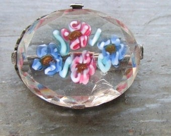 Faceted Crystal Pin Brooch in Sterling Silver with Handpainted Flowers