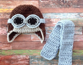 Aviator Hat, Toddler, 3 Piece Set, 6 to 12 Month, Photo Prop, Aviator, Goggles, Scarf, Brown, Blue, Gray, Boy, First Birthday Photo Prop,RTS