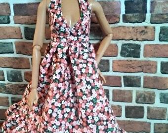 Floral Vintage Print Halter SunDress for Barbie or similar fashion doll
