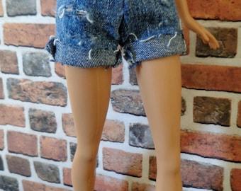 Denim Cutoff Distressed Shorts for Barbie or similar size doll