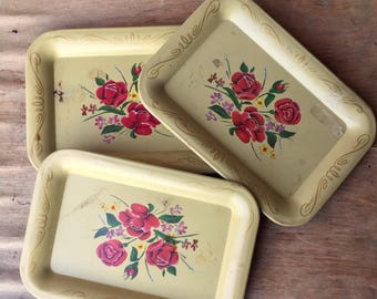 Small Yellow Serving Trays, Set of 3, 1960's