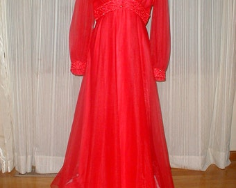Mike Benet Formals Long Red Evening Dress *Overlay*Rhinestones* Lady In Red!