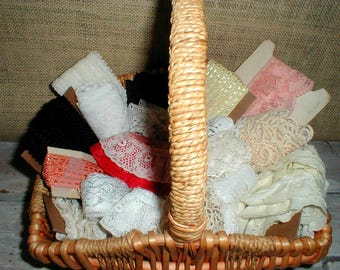 Basket Full Of Lace Ruffles & Trim *Estate* Sewing Notions Craft