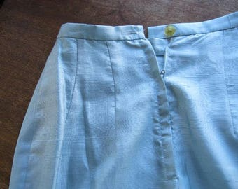 XS-Small Blue Silk Dupioni Vintage  Skirt~Straight, Knee-Length Upscale Skirt for Work, Date, Cocktails; Free Shipping/U.S.