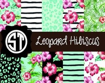 Leopard Hibiscus Patterns Vinyl (Indoor, Outdoor,  Glitter vinyl , HTV iron on, Glitter HTV) Lamination available Mask not included