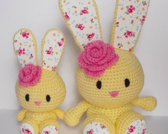 MADE TO ORDER Flower Bunny, rabbit, cuddly toy, stuffed toy, crochet.