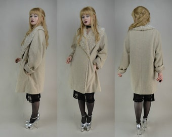 80s Cream Wool Furry Single Button Winter Coat L