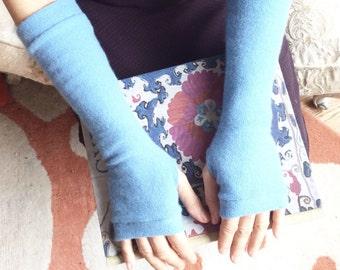 Cashmere Fingerless Gloves in light blue, Cashmere Arm Warmers, Womans Fingerless Gloves