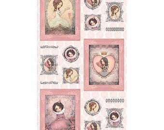 All For Love Panel by Santoro of London for Quilting Treasures - (25845 -D Lt. Rose) - 1 Panel (24x44)