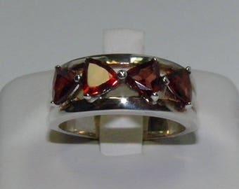Sterling Silver Garnets Ring Size 7