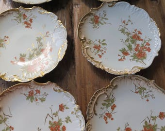 Set of 6 limoges hand painted vintage plates with damage