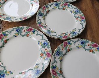 RESERVED FOR INGA Set of 6 Royal Cauldon 'Victoria' vintage china tea/salad plates