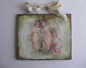 Woodland Victorian Fairies Wood Wall Hanging/Plaque