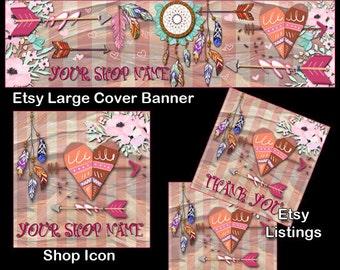 BOHO SOUTHWEST Complete Etsy Shop package,Bohemian Etsy Large Cover Set,Etsy Complete Set,Shop Icon,Etsy Shop Package,Whimsical Etsy Cover