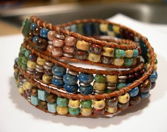 Beaded Wrap Bracelet, Leather, Triple Wrap- 880
