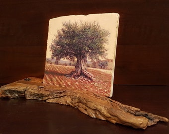 Galilean olive tree, Oil painting on natural Jerusalem stone. On ancient olive wood stand. Souvenir from Israel  by Miki Karni