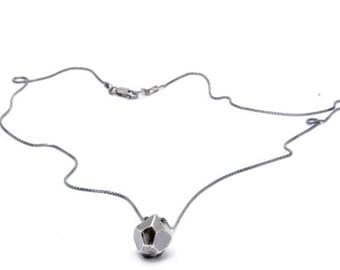 30% OFF// faceted necklace // sterling silver with oxidized chain