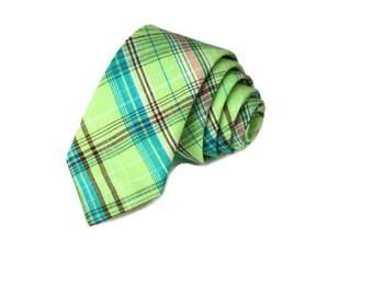 Necktie~Plaid Necktie~Anniversary Gift~Wedding Tie~Mens Gift~Boys Necktie~Mens Necktie~Wedding~HoBo Ties~Mens Tie~Boys Tie~Madras Plaid