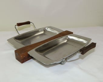 Mid Century Tray with Removable Metal Inserts