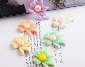 25 pcs 23*31mm Mix color Diy accessories, lovely resin flowers,bowknot, Charm craft jewelry, wedding,Necklaces Earrings Bracelet Accessories