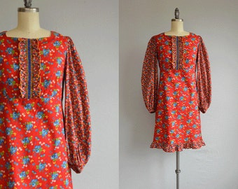 Vintage 1960s Dress / 60s Red Calico Paisley Print Smocked Embroidered Mini Peasant Dolly Dress