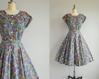 Vintage 1950s Dress / 50s Floral Batik Print Cotton Housedress with Circle Skirt and Belt / Blue Berry Hand Block Print