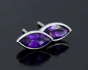 SALE 2 days only Purple Amethyst Earrings Studs in Sterling Silver. February Birthstone, Marquise Cut Amethyst Stud Earrings in 925 Sterling