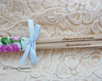 Love Quotes on Chopsticks with Heart-shaped Chopstick Rest/ Personalised Gifts