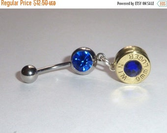 30% OFF SALE Belly Button Jewelry . 357 Magnum or 9mm Brass Bullet . YOU Pick
