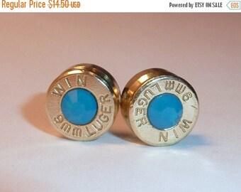 30% OFF SALE Bullet Earrings.Caribbean Blue Opal  .9mm Luger