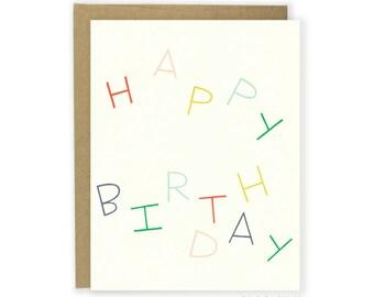 Birthday Card - Happy Birthday Multicolor Letters Minimalist Card