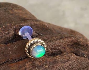 Opal Piercing stud Sterling silver Cartilage Earring Helix Earring Tragus Stud Piercing bioplast bio flexible bioflex 16G