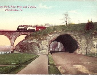 Vintage Postcard....Pennsylvania, Philadelphia, Fairmount Park, River Drive and Tunnel...Used...no. PA0010